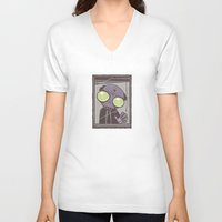 office V-neck T-shirts featuring Office Zombie by John Schwegel