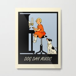 Dog day music retro style Metal Print