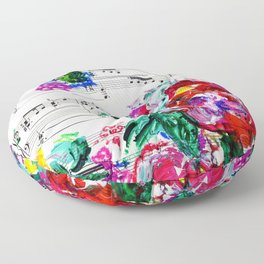 Musical Beauty - Floral Abstract - Piano Notes Floor Pillow