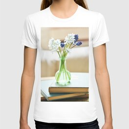 Blue and white flowers in green vase T-shirt
