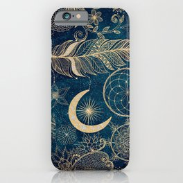 Whimsy Gold Glitter Dreamcatcher Feathers Mandala iPhone Case