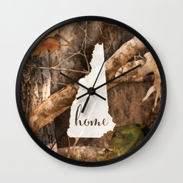 New Hampshire is Home - Camo Wall Clock