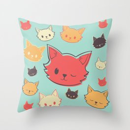 Kitty Wink Throw Pillow