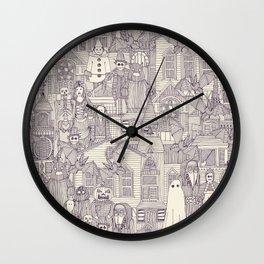 vintage halloween purple ivory Wall Clock