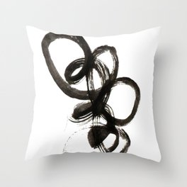 smear of black paint // modern abstract art // minimalism // black and white // stylish, loft style Throw Pillow