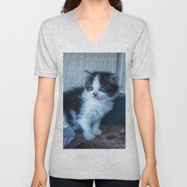 Black + White Kitten Unisex V-Neck