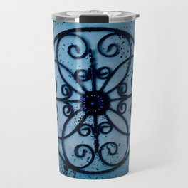 The metal design in blue Travel Mug