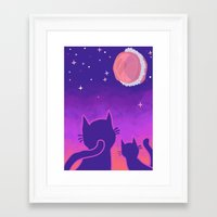 macaroon Framed Art Prints featuring Macaroon Moon by Noirabbit