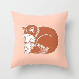 Sleeping Copper Brown Husky Throw Pillow