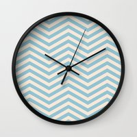 chevron Wall Clocks featuring Chevron by Patterns and Textures