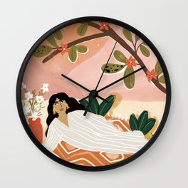 Laying under the full moon Wall Clock