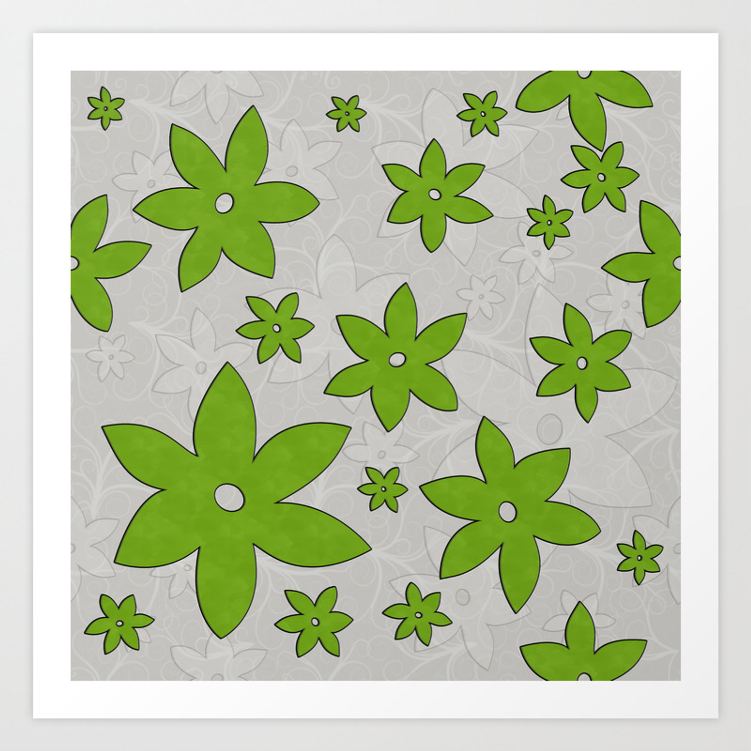 Green flowers, Vines, Seamless Pattern with light background Art Print
