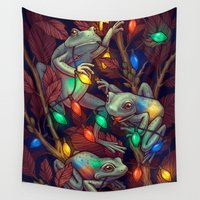 baby Wall Tapestries featuring Baby it's Toad Outside by Kate O'Hara Illustration