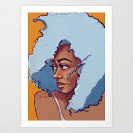 Blue Haired Bombshell Art Print
