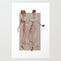 Fashion Illustration - Pink Gowns Art Print