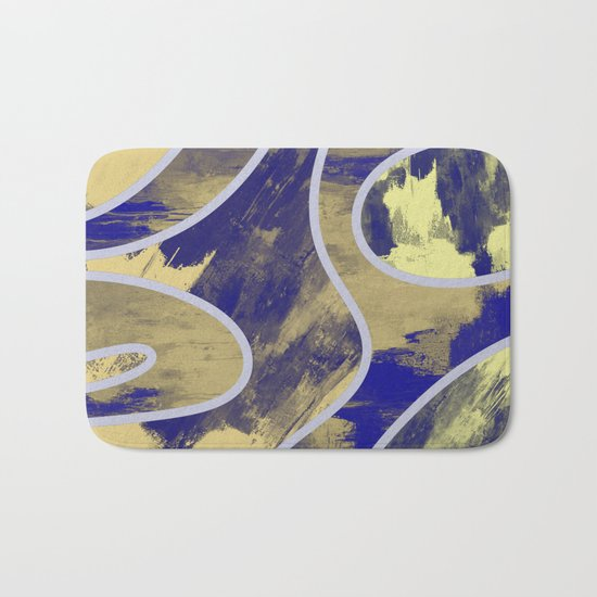 Textured Segments - Abstract, textured painting Bath Mat