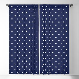 Small White Polka Dots On Navy Blue Background Blackout Curtain