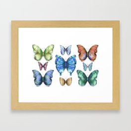 Butterfly Taxidermy // Beautiful Mandala Detailed Wings Design // Lime Green, Bright Blue, Gold Framed Art Print