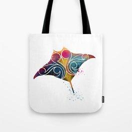 Manta Ray Color Burst Tote Bag
