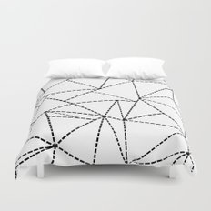 Abstract Dotted Lines Black and White Duvet Cover