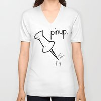pinup V-neck T-shirts featuring Pinup. by Ebenezer Hedgehog
