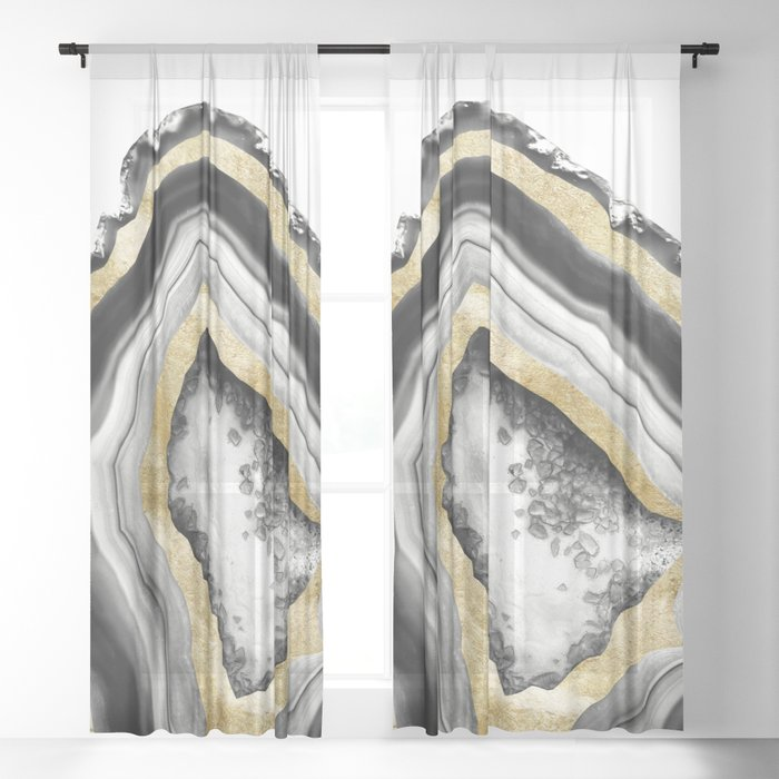 Agate Gold Foil Glam #1 #gem #decor #art #society6 Sheer Curtain
