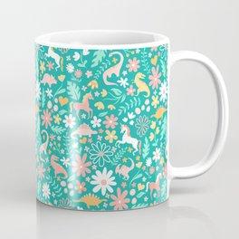 Dinosaurs + Unicorns on Teal Coffee Mug