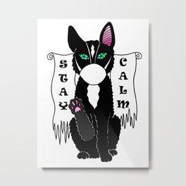 Black cat in mask Metal Print