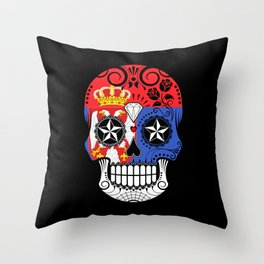 Sugar Skull with Roses and Flag of Serbia Throw Pillow
