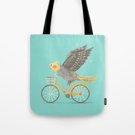 Cockatiel on a Bicycle Tote Bag