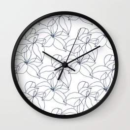 Floral Drawing, Overlap Wall Clock