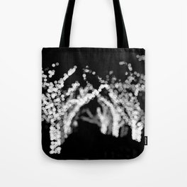 Twinkle Lights - Holiday Lights in Black and White Tote Bag