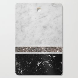 White and Black Marble Silver Glitter Stripe Glam #1 #minimal #decor #art #society6 Cutting Board
