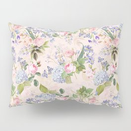 Vintage & Shabby Chic - Pink Redouté Roses Bouquets Pattern Pillow Sham