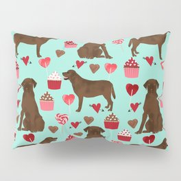 Chocolate Labrador Retriever valentines day cupcakes love hearts dog gifts labs Pillow Sham