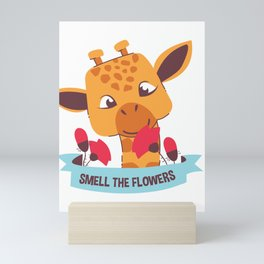 Smell The Flowers Cute Baby Giraffe Mini Art Print