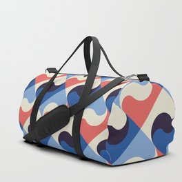 Retro Pattern Blue Red Waves Duffle Bag
