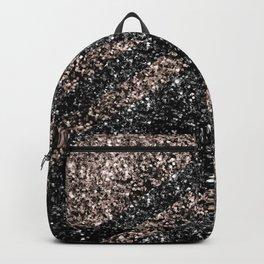 Rose Gold Black Glitter Stripes #1 #shiny #decor #art #society6 Backpack