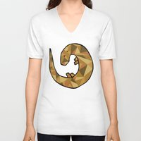 otter V-neck T-shirts featuring Otter by Jackie Wyant