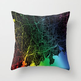 Stamford, CT, USA, Rainbow, City, Map Throw Pillow