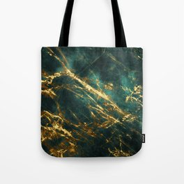 Glamorous Green Faux Marble Pattern With Gold Veins Tote Bag