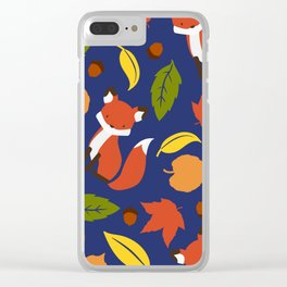 Fox Jumble - Blue Clear iPhone Case