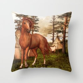 Native American Horse Throw Pillow
