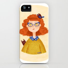 Ginger girl with glasses iPhone Case