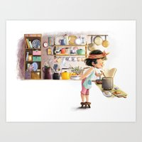 cooking Art Prints featuring Cooking by Bumpy