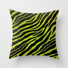 Ripped SpaceTime Stripes - Yellow/Lime Throw Pillow