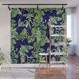 Evergreen Hawk Moth on seaweed, algae, and orchids Wall Mural