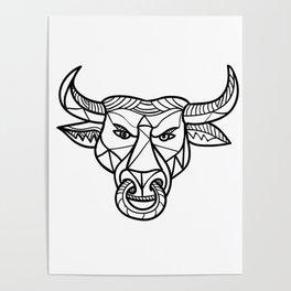 Texas Longhorn Bull Head Mosaic Poster