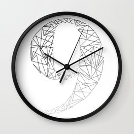 ''Geometry Collection'' - Minimal Number Nine Print Wall Clock