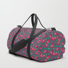 Cranberries pattern (on dark red background) Duffle Bag